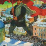 Boris Michailowitsch Kustodijew: Der Bolschewik, 1920. Öl auf Leinwand. Quelle: Tretjakow-Galerie Moskau/Wikimedia Commons