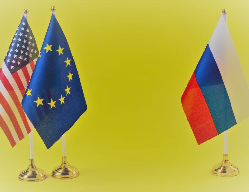 Flaggen Russland Deutschland EU