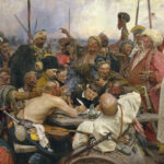 """Das Gemälde: """"Die Saporoger Kosaken schreiben dem türkischen Sultan einen Brief"""" von Ilja Repin. (Quelle: The Yorck Project, 2002: 10.000 Meisterwerke der Malerei/Wikimedia)"""