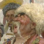 """Der Eyecatcher: Ausschnitt aus dem Gemälde: """"Die Saporoger Kosaken schreiben dem türkischen Sultan einen Brief"""" von Ilja Repin."""