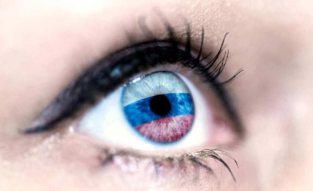 Auge Russland Fahne