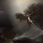 """Maxim Worobjow: """"Vom Blitz gespaltene Eiche"""", 1842 Öl auf Leinwand, 100,5 × 131 cm"""