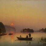 """Anton Iwanow-Goluboi: """"Die Insel Walaam bei Sonnenuntergang"""", 1845 Öl auf Leinwand, 61 × 91,3 cm"""