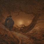 """Caspar David Friedrich: """"Zwei Männer in Betrachtung des Mondes"""", 1819/20 Öl auf Leinwand, 33 x 44,5 cm"""