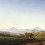 """Caspar David Friedrich: Böhmische Landschaft mit dem Milleschauer"""", 1808 Öl auf Leinwand, 70 x 104 cm"""