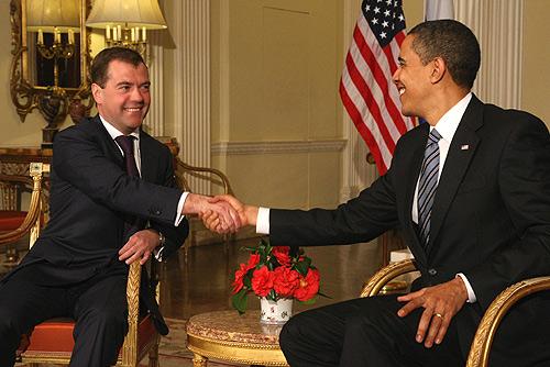 Obama und Medwedew beim G20-Gipfel in London am 1. April 2009