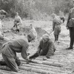 Nützliche Arbeitskräfte: Sowjetische Kriegsgefangene bauen bei Roslawl einen Knüppeldamm (19.9.1941)