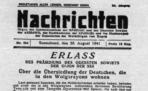 Erlass Umsiedlung der Wolgadeutschen vom 28.8.1941